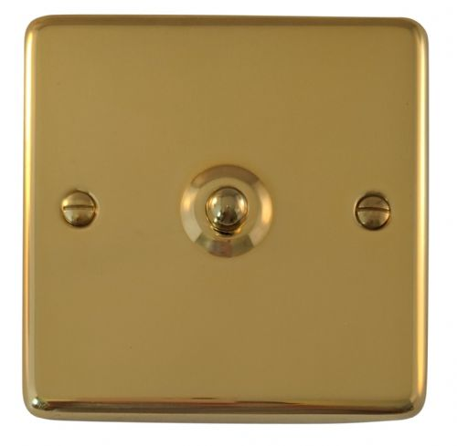 G&H CB281 Standard Plate Polished Brass 1 Gang 1 or 2 Way Toggle Light Switch